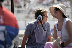 Ashley Judd watches husband Dario on the track