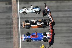 Mario Andretti, Michael Andretti and Marco Andretti on the yard of bricks