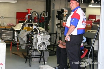 Work on Larry Foyt's car on race morning
