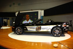 Two-time Indianapolis 500 winner Emerson Fittipaldi, who will drive a Pace Car at the 2008 Indy 500, speaks on the video screen in front of the 30th anniversary commemorative edition Corvette Pace Car