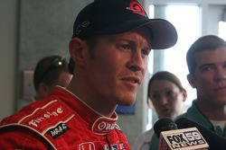 Scott Dixon talks to the press after the day's practice