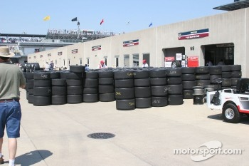 Stacked tires at the Firestone garage