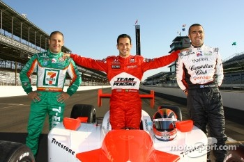 The top three Pole position leaders Tony Kanaan, pole winner Helio Castroneves and Dario Franchitti
