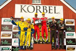 GT podium: class winners Bill Lester and Jordan Taylor, second place Oliver Gavin and Gunter Schaldach, third place Bill Auberlen and Paul Dalla Lana