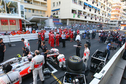 The cars go back onto the grid