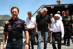 F1: Christian Horner, Red Bull Racing, Sporting Director with Flavio Briatore and Bernie Ecclestone