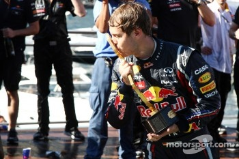 Sebastian Vettel, Red Bull Racing, celebrates with the team