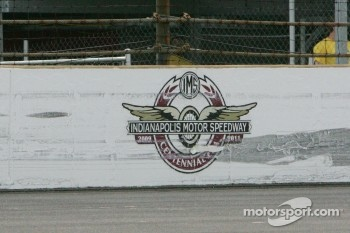 Centennial Era Logo takes a beating between turns 1 and 2 in the south short chute