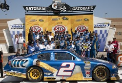 Victory lane: Brad Keselowski, Penske Racing Dodge celebrates