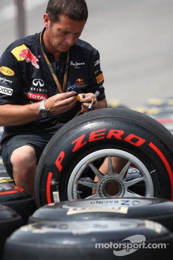 Red Bull Racing mechanic works on Pirelli Tires