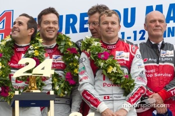 LMP1 podium: class and overall winners Marcel Fässler, André Lotterer and Benoit Tréluyer with Ralf Juttner and Dr. Wolfgang Ullrich