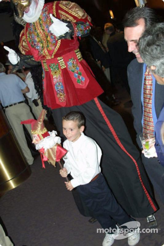 A happy kid with Cirque du Soleil performer