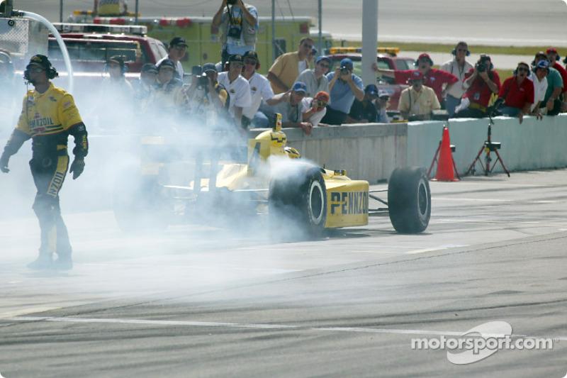 Sam Hornish Jr. leaving the pits
