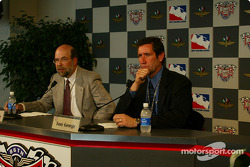 American Honda Motor Co., Inc. announcing plans to enter the Indy Racing League for the 2003 season competition: Robert Clark, GM of Honda Performance Development and Tony George, IRL President and CEO