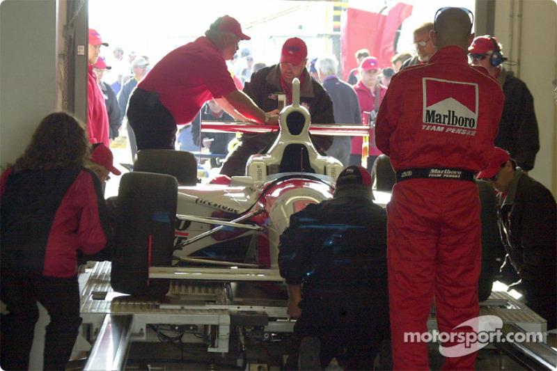 Penske team car getting inspected before the race