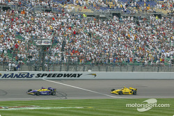 Airton Daré taking the checkered flag in front of Sam Hornish Jr.