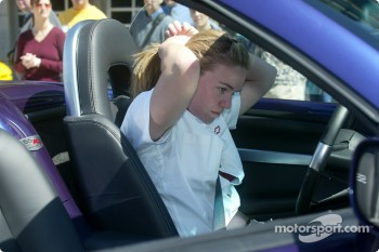 Sarah Fisher prepares to drive the Chevy SSR
