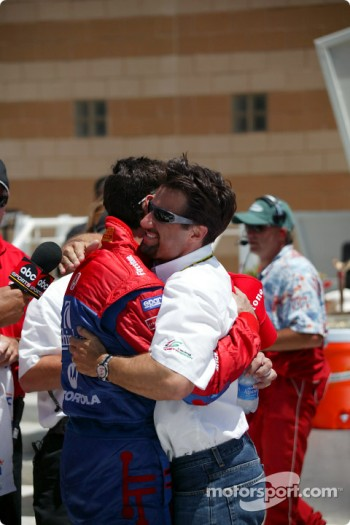 Victory lane: race winner Bryan Herta and Michael Andretti