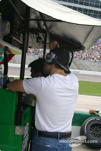 Dario Franchitti watches the race