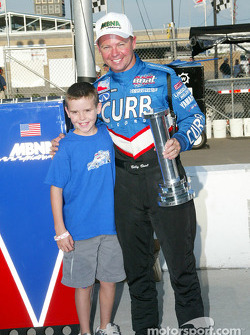 Billy Boat and son celebrating the Pole Winner Award