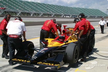 Bryan Herta waits to practice