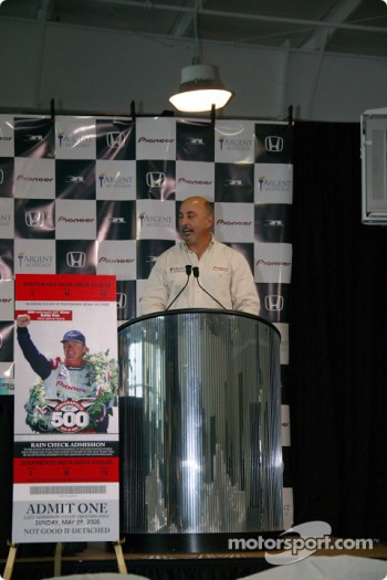Bobby Rahal presents the 2005 Indianapolis 500 ticket, featuring images of Rice, Rahal and team co-owner David Letterman