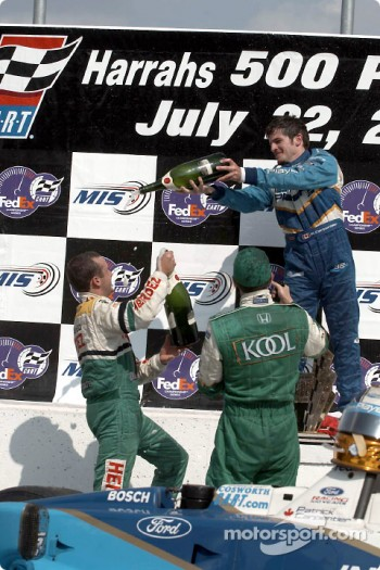 The podium: Patrick Carpentier having fun with Michel Jourdain Jr. and Dario Franchitti