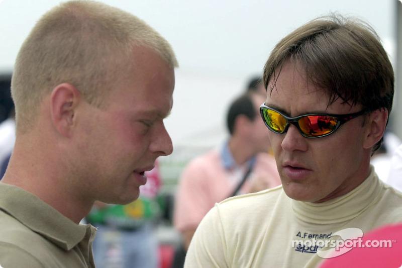 Jan Magnussen visiting Adrian Fernandez Racing
