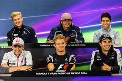 The FIA Press Conference (from back row (L to R)): Marcus Ericsson, Sauber F1 Team; Carlos Sainz Jr., Scuderia Toro Rosso; Esteban Ocon, Manor Racing; Esteban Gutierrez, Haas F1 Team; Nico Rosberg, Mercedes AMG F1; Sergio Perez, Sahara Force India F1