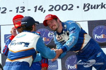 The podium: Alex Tagliani congratulating Patrick Carpentier