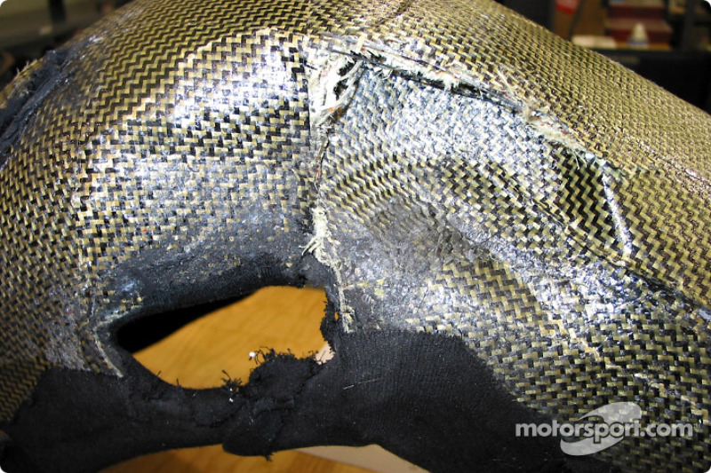 Adrian Fernandez' seat after the Vancouver crash