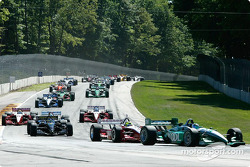 First lap: Paul Tracy leading the field