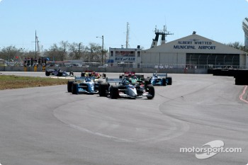 The start: Sbastien Bourdais leads Paul Tracy