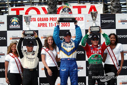 The podium: race winner Paul Tracy with Adrian Fernandez and Bruno Junqueira