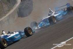 Victory spin for Patrick Carpentier while Paul Tracy joins in the celebration