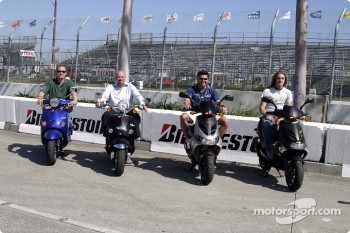 Tommy Kendall, Paul Gentilozzi, Alex Tagliani and Nelson Philippe on their Aprilia Scooter