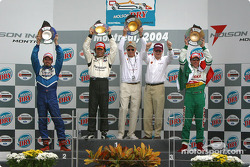 Podium: race winner Bruno Junqueira with Patrick Carpentier, Paul Newman, Carl Haas and Mario Dominguez