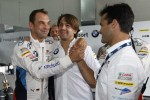 Jrg Muller and Augusto Farfus Jr. celebrate GTE pole with Pedro Lamy