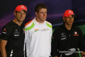 Lewis Hamilton, McLaren Mercedes, Jenson Button, McLaren Mercedes and Paul di Resta, Force India F1 Team