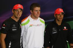 Lewis Hamilton, McLaren Mercedes, Jenson Button, McLaren Mercedes and Paul di Resta, Force India F1 Team