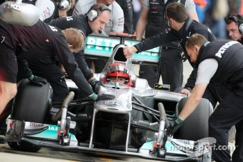 Schumacher once again lost the nose of his Mercedes