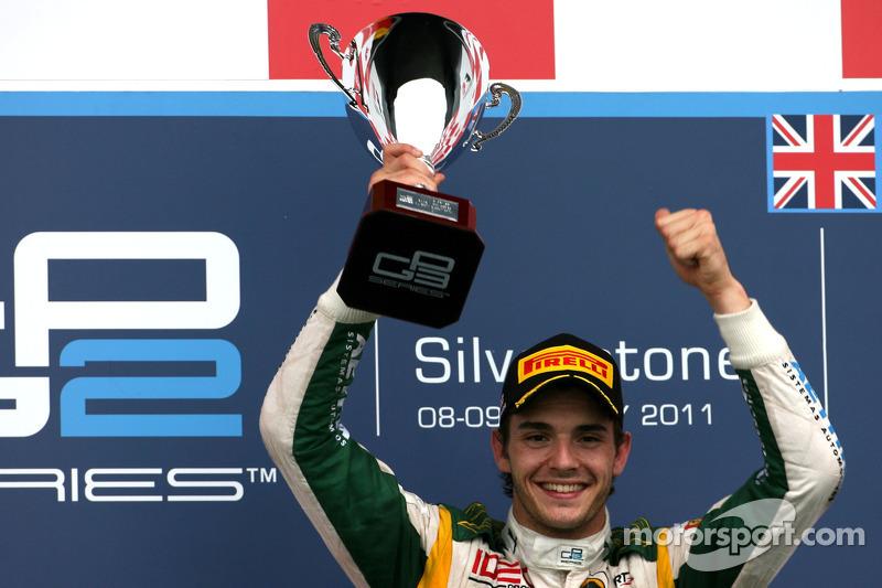 Podium: race winner Jules Bianchi, Lotus ART