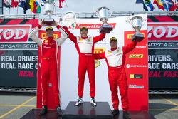 458 podium: race winner #77 Ferrari of Silicon Valley Ferrari 458 Challenge: Harry Cheung, second place #22 Ferrari of Ft. Lauderdale Ferrari 458 Challenge: Enzo Potolicchio, third place #59 Algar Ferrari Ferrari 458 Challenge: John Farano