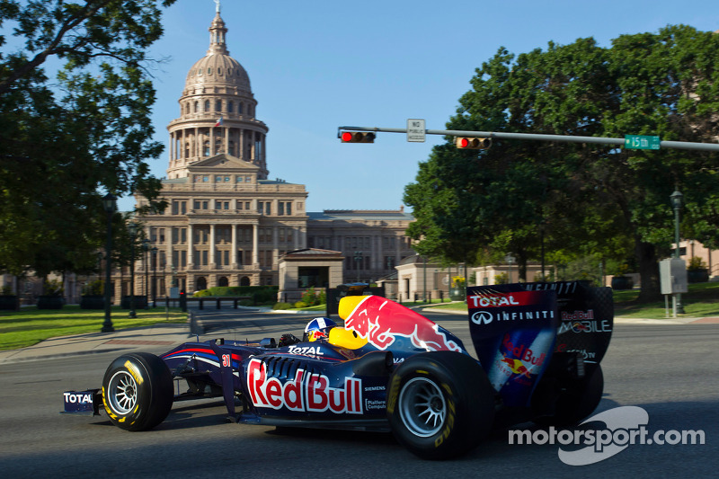 David Coulthard drives the Red Bull F1 car in Austin
