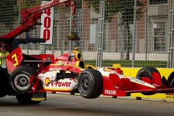 Damaged car of Helio Castroneves, Team Penske