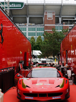 Risi Competizione Ferrari 458 Italia in the shadow of M&T Bank Stadium