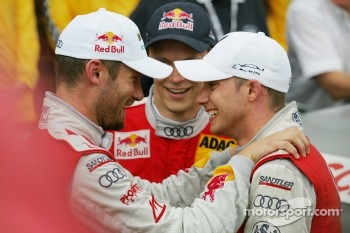 Race winner Martin Tomczyk, Audi Sport Team Phoenix, Audi A4 DTM with second place Mattias Ekström, Audi Sport Team Abt Sportsline, Audi A4 DTM and third place Edoardo Mortara, Audi Sport Team Rosberg Audi A4 DTM