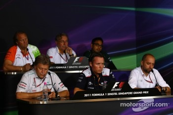 FIA Press Conference Norbert Haug Mercedes Sporting Director, Sam Michael Williams Technical Director, Gerard Lopez Genii Capital, Robert Fearnley Force India F1 Team, Jean-Fran??ois Caubet Lotus Renault GP Managing Director and Riad Asmat CEO of Team Lot