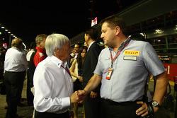 Bernie Ecclestone with Paul Hembury of Pirelli