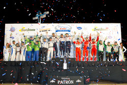 Class winners podium: PC winners Ken Dobson, Henri Richard and Ryan Lewis, GTE-AM winners Tracy Krohn, Nic Jonsson and Michele Rugolo, P2 winners Scott Tucker, Christophe Bouchut and Joao Barbosa, P1 winners Franck Montagny, Stéphane Sarrazin and Alexande